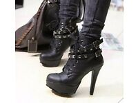Fashion Womens Winter Pumps Motorcycle ankle wintage High Heels Gladiator Balck Buckles Boots