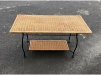 Wicker and metal coffee table