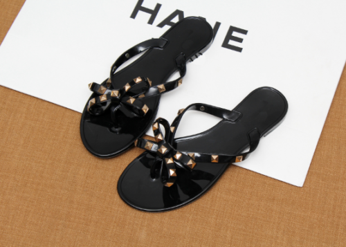 ca438d352 You may also like. Thong Sandals Summer Wome Jelly Flip Flop Clinch Bolt  Flat Rivet Bowknot Crystal