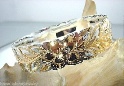 18MM BM HAWAIIAN 2-TONE STERLING SILVER 14K YELLOW GOLD ROYAL LEI MAILE BANGLE (Maile Lei)