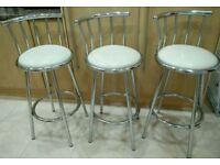 Breakfast bar stools - cream faux leather