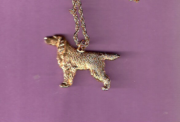 """Gordon Setter Gold Plated Necklace Pendant Jewelry 20"""" chain"""