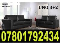 UNO Leather 3 + 2 Sofa set in black brand new 24108