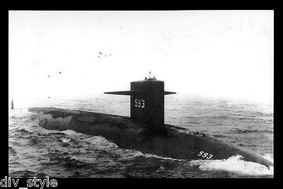 USS Thresher SSN-593 postcard US Navy nuclear-powered submarine