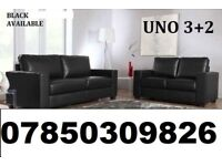 3+2 leather sofa black and brown