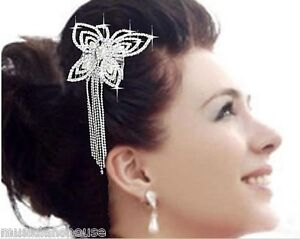 HAIR-Slide-PIN-Comb-CLIP-PROM-Butterfly-Fascinator-DIAMANTE-CRYSTAL-Bridesmaid