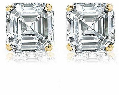 2.02 ct Asscher Cut Diamond 14k yel. Gold Stud Earrings I VVS2/VS1 GIA certified