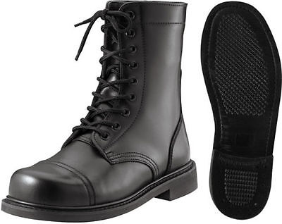 Stiefel Kampf Klein Größen Schwarz Militär Stil Stahl Schaft Taktisch Leder -