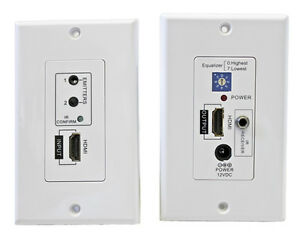 HDMI Plus IR Repeater Extender Wall Plate Over Cat5  Cat 6 - A1315WP