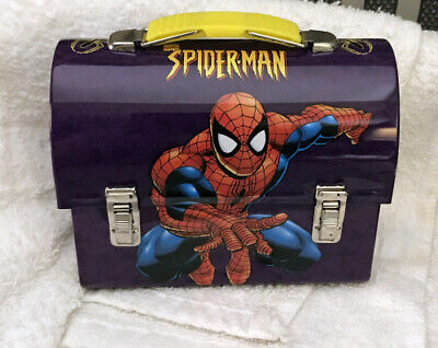 SPIDER-MAN WEB DOMED WORKMAN Mini METAL TIN LUNCHBOX NEW