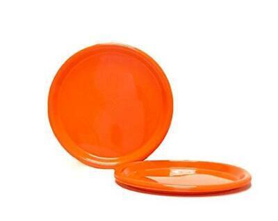 Mintra Home Reusable Plastic Plates (Orange, Large 4pk (8.5in)) - Orange Plastic Plates