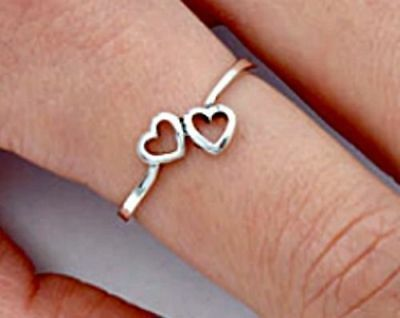 Halo Kids (.925 Sterling Silver Ring Midi Heart Kids Ladies size 2-11 Knuckle Thumb)