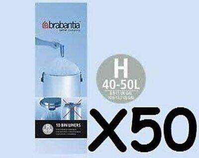 5 x BRABANTIA BIN LINERS TYPE H LINER 50-60L Roll10 Brabantia 50 L Bin Liner