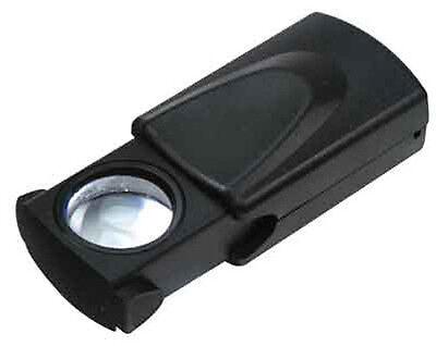 "10X Illuminated LED Pocket Slide Magnifier Handheld Loupe 1"" Glass Lens #MM987"