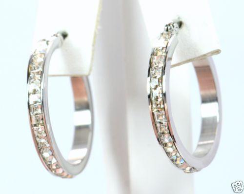 small silver hoop earrings ebay. Black Bedroom Furniture Sets. Home Design Ideas