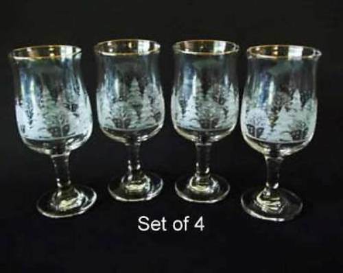 4 Libbey Christmas Winter White Frosted Pine Trees Stemmed Glasses Goblet Arby