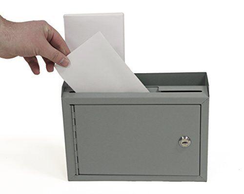 2 Slot Drop Suggestion Box Letter Bill Money Cash Key Locking Wall Mount Office