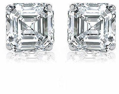 2.00 ct Asscher Cut Diamond 14k white gold Stud Earring GIA G color VS1 clarity 1
