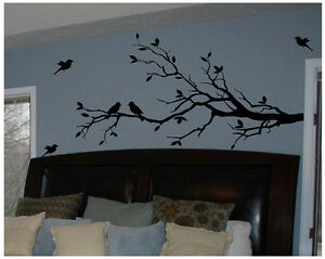Tree branch with 10 birds in black wall decal deco art for Black tree mural