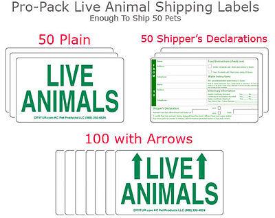 Live Animal Airline Labels - 6 FULL Sets Labels + 6 Kennel T