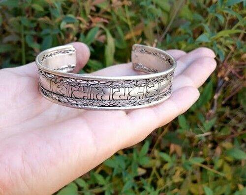 Big Tibetan Silver Filigree Thread Mantra OM Mani Padme Hum Dorje Cuff Bracelet