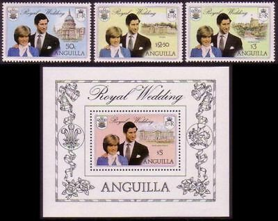ANGUILLA 1981 ROYAL WEDDING SET OF ALL 3 & THE MINIATURE SHEET MNH