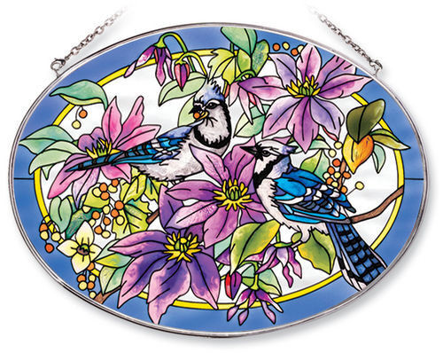 BLUE JAYS Clematis Suncatcher Hand Painted Glass AMIA Large Oval Flowers New