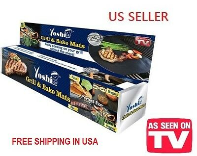 2-PACK YOSHI BARBECUE GRILL/BAKE MATS REUSABLE D/W SAFE FOOD COOKS EVENLY ASOTV