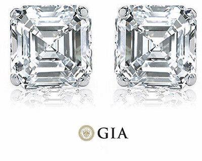 2 carat Asscher Cut Diamond 14k white gold Stud Earring GIA H  VS1 certificate