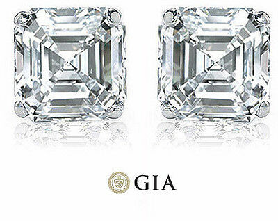 2.00 ct Asscher Cut Diamond 14k white gold Stud Earring GIA G color VS1 clarity