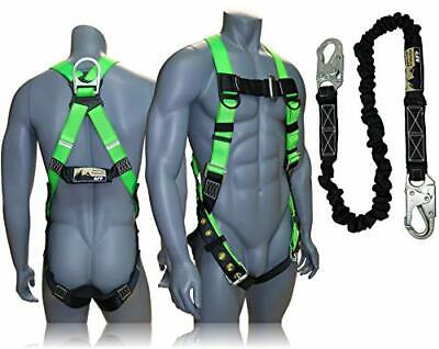 Fall Protection Safety Harness Lanyard Construction Roofing Combo Kit Ansi Osha