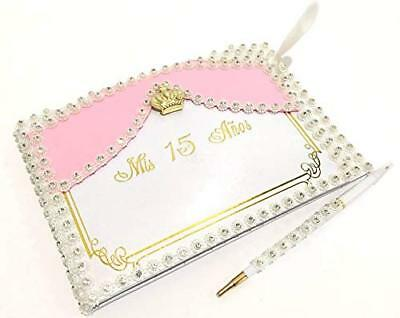 Mis Quince Anos Quinceanera Rhinestones Guest Book with Gold Crown Decoration](Mis Quince Anos Decorations)