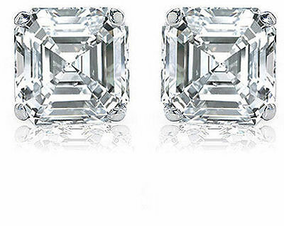 2 carat Asscher Cut Diamond Platinum Stud Earrings GIA cert H color VS1