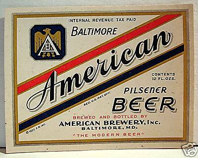 American Beer Bottle IRTP Label Brewery Baltimore #1