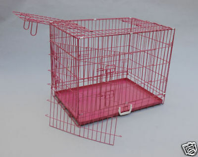 "42"" 3 Door Pink Folding Dog Crate Cage Kennel w/DIVIDER"