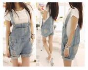 Womens Denim Overall Shorts