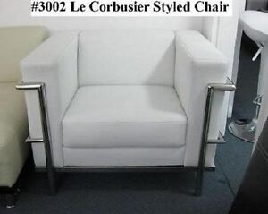 modern le corbusier leather chair in black or white 3002