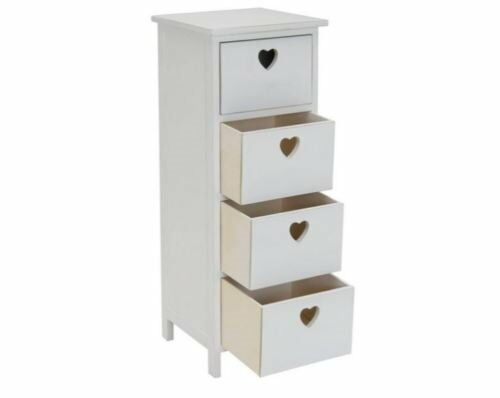 Merveilleux Heart 4 Drawer Storage Unit Heart Chest Of Drawers Bedroom Furniture New    White