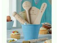 Brand new Personalised Baking star utensils with bucket.