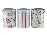 Set Of 3 Floral Canisters