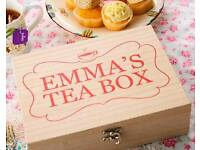 Personalised wooden tea chest with Pukka teas