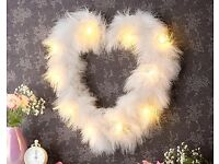 LED White Feather Heart