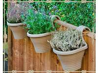 3 beige balcony planters