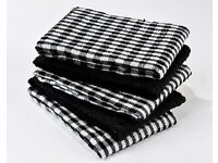 Pack of 5 Black & White Check Tea Towels (L59 x W44.5cm) (NEW)