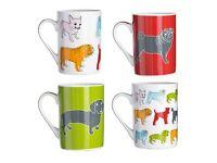 Set Of 4 Sabichi Dog Designs Mugs