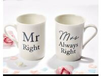 Mr & Mrs set of 2 mugs Brand new