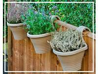 Set of 3 Beige Balcony Planters