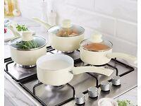 Set of 4 Ceramic Pans Cream or Red