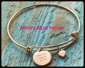 Heart Charm Rose Gold Bracelet Personalised.