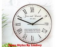 Personalise Rustic Message Glass Clock